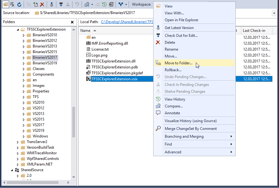 TFS Source Control Explorer Extension - Visual Studio